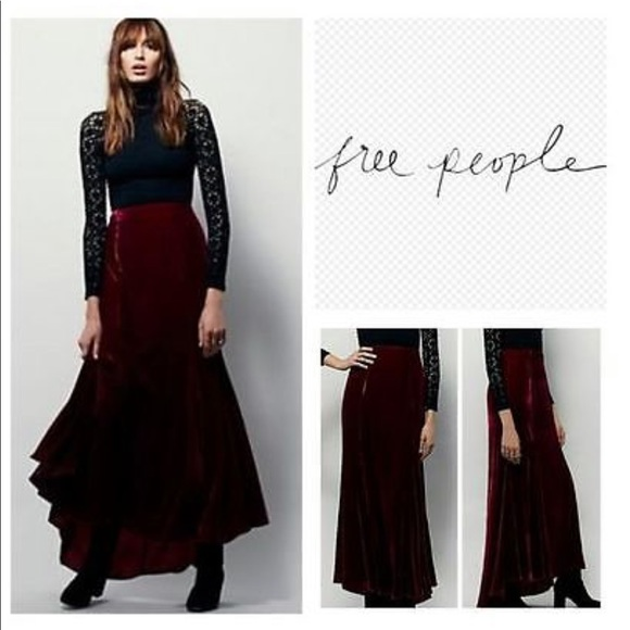 c9492332827 Free People Dresses   Skirts - FP X Curtain Call Velvet Maxi Skirt